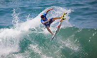 Huntington Beach, CA - Saturday August 05, 2017: Italo Ferreira during a World Surf League (WSL) Qualifying Series (QS) fifth round heat in the 2017 Vans US Open of Surfing on the South side of the Huntington Beach pier.