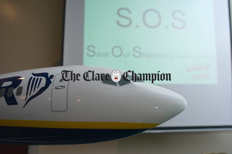 The writing on the wall at the Ryanair press conference at Shannon. Photograph by John Kelly.
