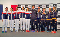 Arena Loire,  Tr&eacute;laz&eacute;,  France, 14 April, 2016, Semifinal FedCup, France-Netherlands, Draw,  French and Dutch (R) team<br /> Photo: Henk Koster/Tennisimages