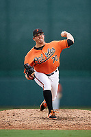 Baltimore Orioles pitcher Zac Lowther (70) delivers a pitch during an Instructional League game against the Tampa Bay Rays on October 5, 2017 at Ed Smith Stadium in Sarasota, Florida.  (Mike Janes/Four Seam Images)