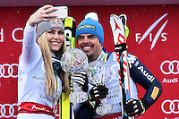 Peter Fill vince la coppa del mondo di Discesa Libera <br /> Selfie con Lindsey Vonn<br /> Saint Moritz 16-03-2016 Sci Alpino <br /> Foto Manuel Lopez / Freshfocus / Insidefoto