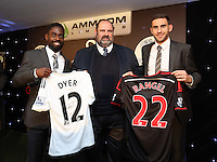 Pictured: Nathan Dyer and Angel Rangel with sponsor Wednesday 20 May 2015<br /> Re: Swansea City FC Awards Dinner at the Liberty Stadium, south Wales, UK