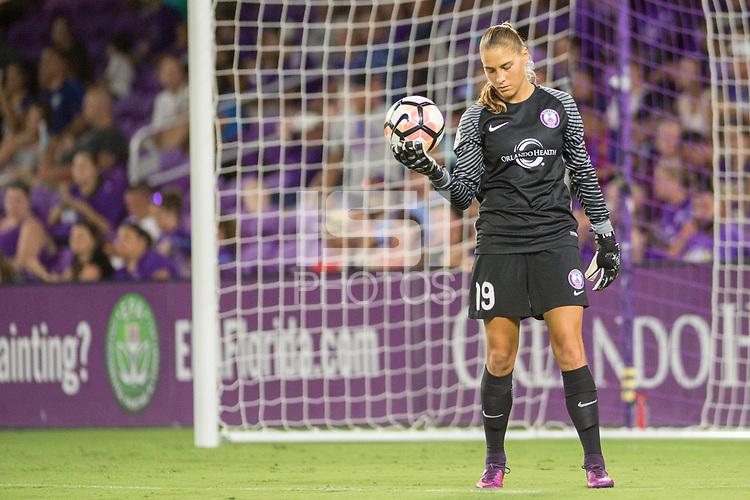 Orlando, FL - Saturday July 15, 2017: Aubrey Bledsoe during a regular season National Women's Soccer League (NWSL) match between the Orlando Pride and FC Kansas City at Orlando City Stadium.