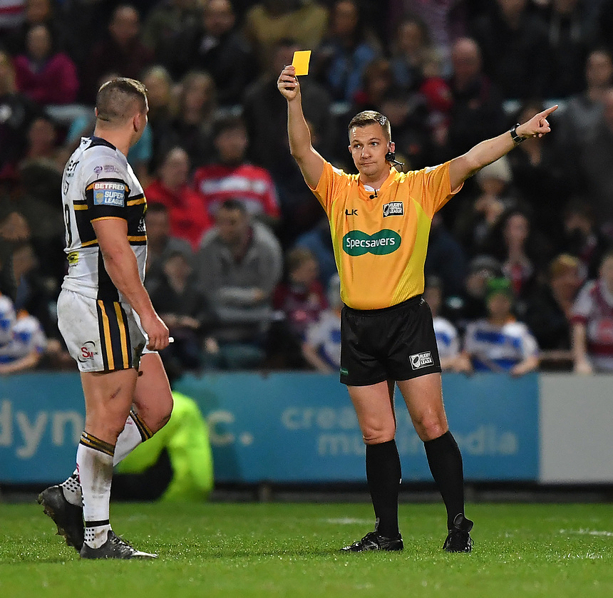 Leeds Rhinos's Brett Ferres is sent to the sin bin<br /> <br /> Photographer Dave Howarth/CameraSport<br /> <br /> Betfred Super League Round 7 - Leeds Rhinos v Wigan Warriors - Headingley Stadium - Leeds<br /> <br /> World Copyright &copy; 2017 CameraSport. All rights reserved. 43 Linden Ave. Countesthorpe. Leicester. England. LE8 5PG - Tel: +44 (0) 116 277 4147 - admin@camerasport.com - www.camerasport.com