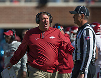 Hawgs Illustrated/BEN GOFF <br /> Bret Bielema, Arkansas head coach, calls a play against Ole Miss Saturday, Oct. 28, 2017, at Vaught-Hemingway Stadium in Oxford, Miss.