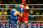 Aishling Hogan, West Clare boxing club and Katie Purtill, Cashen Vale boxing club in action at the boxing competitions in Ballybunion on Thursday night.....   Copyright Kerry's Eye 2008