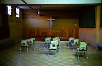 A classroom and the chapel at the Old Montana State Prison in August of 2006.