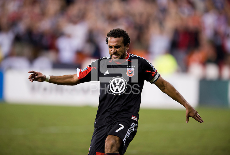 Dwayne De Rosario (7) of D.C. United celebrates his goal during the game at RFK Stadium in Washington, DC.  D.C. United tied the New York Red Bulls, 2-2.  De Rosario has now scored 100 goals in his regular season career.