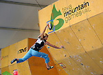 June 5, 2009:  Team USA's Alex Johnson completes her route in the IFSC Bouldering World Cup at the Teva Mountain Games, Vail, Colorado.