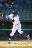 South Bend Cubs left fielder Eloy Jimenez (27) at bat during the second game of a doubleheader against the Peoria Chiefs on July 25, 2016 at Four Winds Field in South Bend, Indiana.  South Bend defeated Peoria 9-2.  (Mike Janes/Four Seam Images)