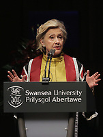 Pictured: Hillary Clinton gives a speech at Swansea University Bay Campus. Saturday 14 October 2017<br /> Re: Hillary Clinton, the former US secretary of state and 2016 American presidential candidate will be presented with an honorary doctorate during a ceremony at Swansea University's Bay Campus in Wales, UK, to recognise her commitment to promoting the rights of families and children around the world.<br /> Mrs Clinton's great grandparents were from south Wales.