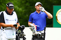 Oliver Fisher takes a water break on the 5th tee during the BMW PGA Golf Championship at Wentworth Golf Course, Wentworth Drive, Virginia Water, England on 28 May 2017. Photo by Steve McCarthy/PRiME Media Images.