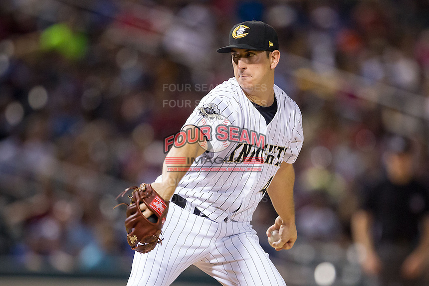 Charlotte Knights relief pitcher Eric Surkamp (47) in action against the Lehigh Valley IronPigs at BB&T Ballpark on May 8, 2014 in Charlotte, North Carolina.  The IronPigs defeated the Knights 8-6.  (Brian Westerholt/Four Seam Images)