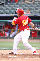 Rafael Alvarez of Team Spain at bat during a game against Team Israel during the World Baseball Classic preliminary round at Roger Dean Stadium on September 21, 2012 in Jupiter, Florida. Team Israel defeated Team Spain 4-2. (Stacy Jo Grant/Four Seam Images)