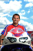 Sept 8, 2012; Clermont, IN, USA: NHRA pro stock motorcycle rider Hector Arana Jr during qualifying for the US Nationals at Lucas Oil Raceway. Mandatory Credit: Mark J. Rebilas-