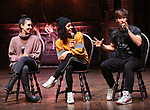 "Gabriella Sorrentino, Sasha Hollinger and Thayne Jasperson during The Rockefeller Foundation and The Gilder Lehrman Institute of American History sponsored High School student #eduHam matinee performance of ""Hamilton"" Q & A at the Richard Rodgers Theatre on November 28, 2018 in New York City."
