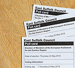 East Suffolk Council poll card for European Parliament election for Eastern Region 23 May 2019