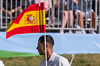 Jack Singh Brar (ENG) on the 18th green during the third round of the Mutuactivos Open de Espana, Club de Campo Villa de Madrid, Madrid, Madrid, Spain. 05/10/2019.<br /> Picture Hugo Alcalde / Golffile.ie<br /> <br /> All photo usage must carry mandatory copyright credit (© Golffile | Hugo Alcalde)