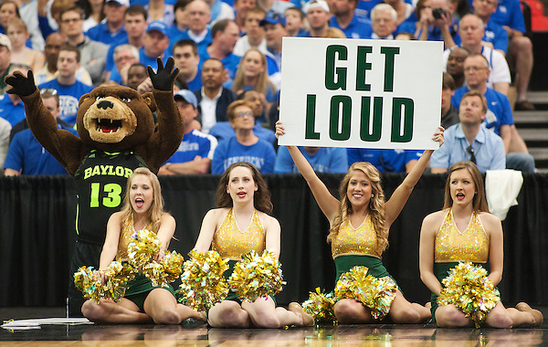 Baylor cheerleaders root on their team during a free throw. Kentucky faced Baylor during the 2012 NCAA Tournament Regional Finals at the Georgia Dome in Atlanta, March 25, 2012. Photo by