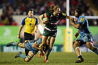Sam Harrison of Leicester Tigers takes on the London Irish defence. Aviva Premiership match, between Leicester Tigers and London Irish on January 6, 2018 at Welford Road in Leicester, England. Photo by: Patrick Khachfe / JMP