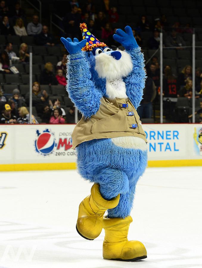Oct 19, 2012; Toledo, OH, USA; Toledo Walleye mascot CatTrick against the Cincinnati Cyclones at Huntington Center: Mandatory Credit: Andrew Weber