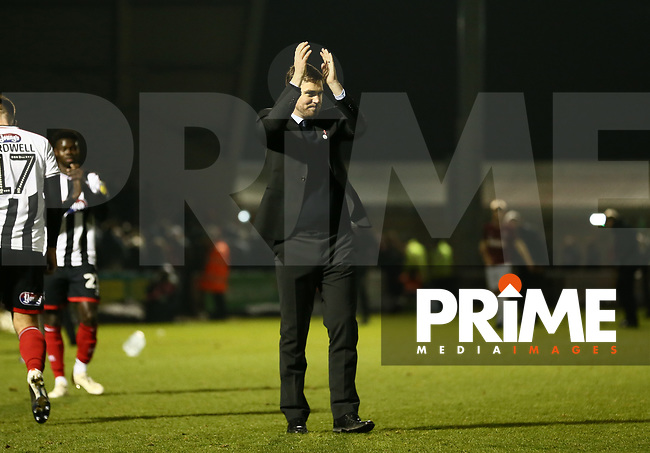 Grimsby Town Manager Michael Jolley applauds the fans after the Sky Bet League 2 match between Northampton Town and Grimsby Town at Sixfields Stadium, Northampton, England on 24 November 2018. Photo by Leila Coker / PRiME Media Images.