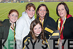 SUPPORTERS: Dr. Crokes supporters who travelled to Portlaoise on Sunday - Triona and Aine Brassil, Sheona, Siobhan and Shena ODonoghue. .