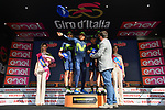 Movistar Team lead the team classification at the end of Stage 16 of the 100th edition of the Giro d'Italia 2017, running 222km from Rovetta to Bormio, Italy. 23rd May 2017.<br /> Picture: LaPresse/Massimo Paolone | Cyclefile<br /> <br /> <br /> All photos usage must carry mandatory copyright credit (&copy; Cyclefile | LaPresse/Massimo Paolone)