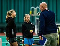 Wateringen, The Netherlands, November 27 2019, De Rhijenhof , NOJK 12/16 years, Kate Swets  vs Mirthe de Bresser with umpire<br /> Photo: www.tennisimages.com/Henk Koster