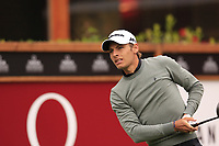 Joakim Lagergren (SWE) tees off the 1st tee during Saturday's Round 3 of the 2017 Omega European Masters held at Golf Club Crans-Sur-Sierre, Crans Montana, Switzerland. 9th September 2017.<br /> Picture: Eoin Clarke | Golffile<br /> <br /> <br /> All photos usage must carry mandatory copyright credit (&copy; Golffile | Eoin Clarke)
