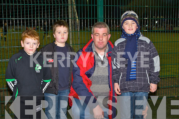 CELTIC PARK: Having a great time at Killarney Celtic-Shamrock Rovers game in Killarney on Tuesday l-r: Cian McMahon, Mark Moynihan and Micheal and Ian O'Connell.