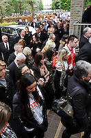 SWANSEA / Richard Youle<br /> Wednesday 29th January 2014<br /> Funeral of Swansea City fan Scott Bryant.<br /> Mourners arriving at Morriston Crematorium.