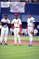 Atlanta Braves third baseman Terry Pendleton, St. Louis Cardinals shortstop Ozzie Smith and Chicago Cubs second baseman Ryne Sandberg during the Major League Baseball All-Star Game at Jack Murphy Stadium  in San Diego, California.  (MJA/Four Seam Images)