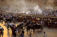 Crowded market in Djemaa el Fna, Marrakesh, Morocco.