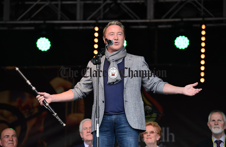 Michael Flatley greets the crowd as he arrives for the official opening of the All-Ireland Fleadh 2017 in Ennis. Photograph by John Kelly.
