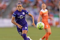 Houston, TX - Friday May 20, 2016: Monica Hickmann (21) chases after a loose ball. The Orlando Pride defeated the Houston Dash 1-0 during a regular season National Women's Soccer League (NWSL) match at BBVA Compass Stadium.
