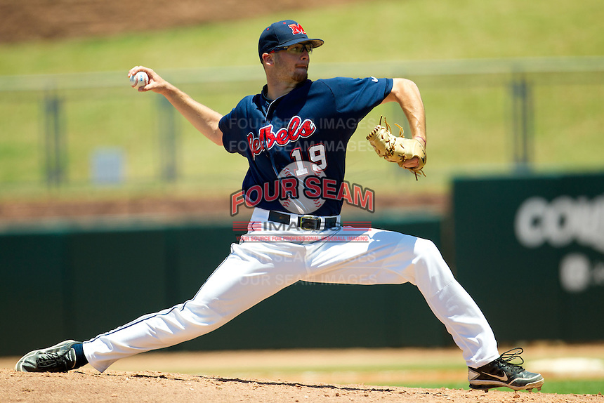 Pitcher Bobby Wahl #19 of the Ole Miss Rebels delivers during the NCAA Regional baseball game against the Texas Christian University Horned Frogs on June 1, 2012 at Blue Bell Park in College Station, Texas. Ole Miss defeated TCU 6-2. (Andrew Woolley/Four Seam Images)..