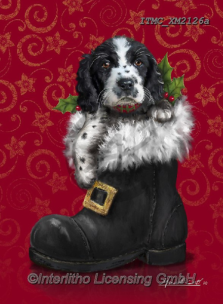 Marcello, CHRISTMAS ANIMALS, WEIHNACHTEN TIERE, NAVIDAD ANIMALES, paintings+++++,ITMCXM2126A,#xa# ,dog,shoe,boot,