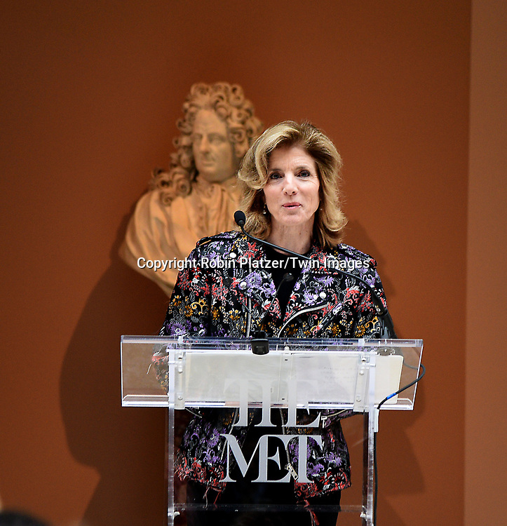 Caroline Kennedy speaks at the Press Preview of Rei Kawakubo/Comme des Garcons: Art of the In-Between exhibit at The Costume Institute at the Metropolitan Museum of Art on May 1, 2017 in New York, New York, USA. <br /> <br /> photo by Robin Platzer/Twin Images<br />  <br /> phone number 212-935-0770