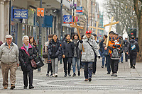 Pictured: Members of a Christian denomination walk through the city centre in Newport, Wales, UK. Thursday 14 February 209<br /> Re: The city of Newport is preparing to host the FA Cup match between Newport County and Manchester City at Rodney Parade, Newport, Wales, UK.
