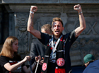 Duesseldorf, Germany, 2. Bundesliga, promotion to 1. Bundesliga of  Fortuna Duesseldorf, team celebrates at Rathausmarkt of Duesseldorf, 14.05.2018<br /> Adam BOTZEK (F95)<br />