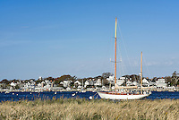 Wooden sailboat in Edgartown harbor, Martha's Vineyard, Massachusetts, USA