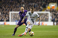 \Kieran Trippier of Tottenham Hotspur holds off Borja Valero of Fiorentina during the UEFA Europa League 2nd leg match between Tottenham Hotspur and Fiorentina at White Hart Lane, London, England on 25 February 2016. Photo by Andy Rowland / Prime Media images.