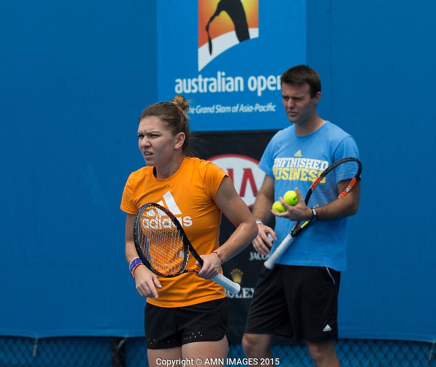 Simona Halep (ROM)<br /> <br /> Tennis - Australian Open 2015 - Grand Slam -  Melbourne Park - Melbourne - Victoria - Australia  - 26 January 2015. <br /> &copy; AMN IMAGES