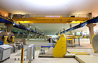 The final step of Oji Paper Factory's assembly line will use a Standard Duty 8 ton Kone Crane, in Nantong, Jiangsu province, China, on May 25, 2010. Photo by Lucas Schifres/Pictobank