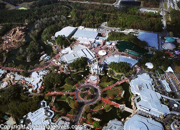 aerial photograph, Disney's Magic Kingdom, Disney, theme park, Orlando, Florida