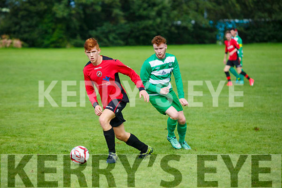 In Action  Dynamos Sean Foley and Celtic's Stephen McCarthy at the  Tralee Dynamos v Killarney Celtic at Cahermoneen on Sunday