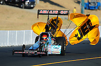 Jul. 16, 2010; Sonoma, CA, USA; NHRA top fuel dragster driver Terry McMillen during qualifying for the Fram Autolite Nationals at Infineon Raceway. Mandatory Credit: Mark J. Rebilas-