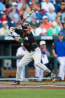 Miami Hurricanes shortstop Brandon Lopez (51) at bat against the Florida Gators in the NCAA College World Series on June 13, 2015 at TD Ameritrade Park in Omaha, Nebraska. Florida defeated Miami 15-3. (Andrew Woolley/Four Seam Images)