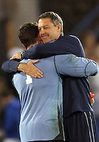 HOOVER, AL - DECEMBER 07, 2012:  Coach brian Weise of Georgetown University with Tomas Gomez (1) at the end of an NCAA 2012 Men's College Cup semi-final match, at Regents Park, in Hoover , AL, on Friday, December 07, 2012. The game ended in a 4-4 tie, after overtime Georgetown won on penalty kicks.